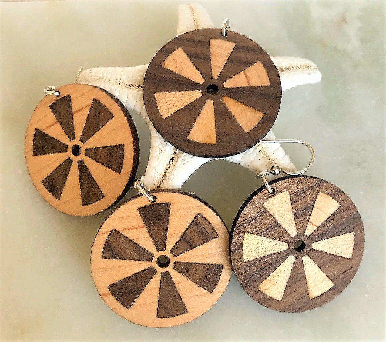Custom Wood Inlay Pinwheel Hoop Bohemian Style Earrings ...